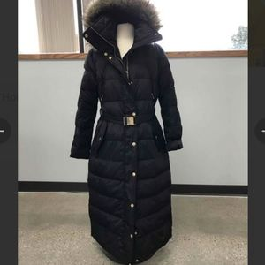 Michael Kors down hooded parka black puffer winter coat large belted